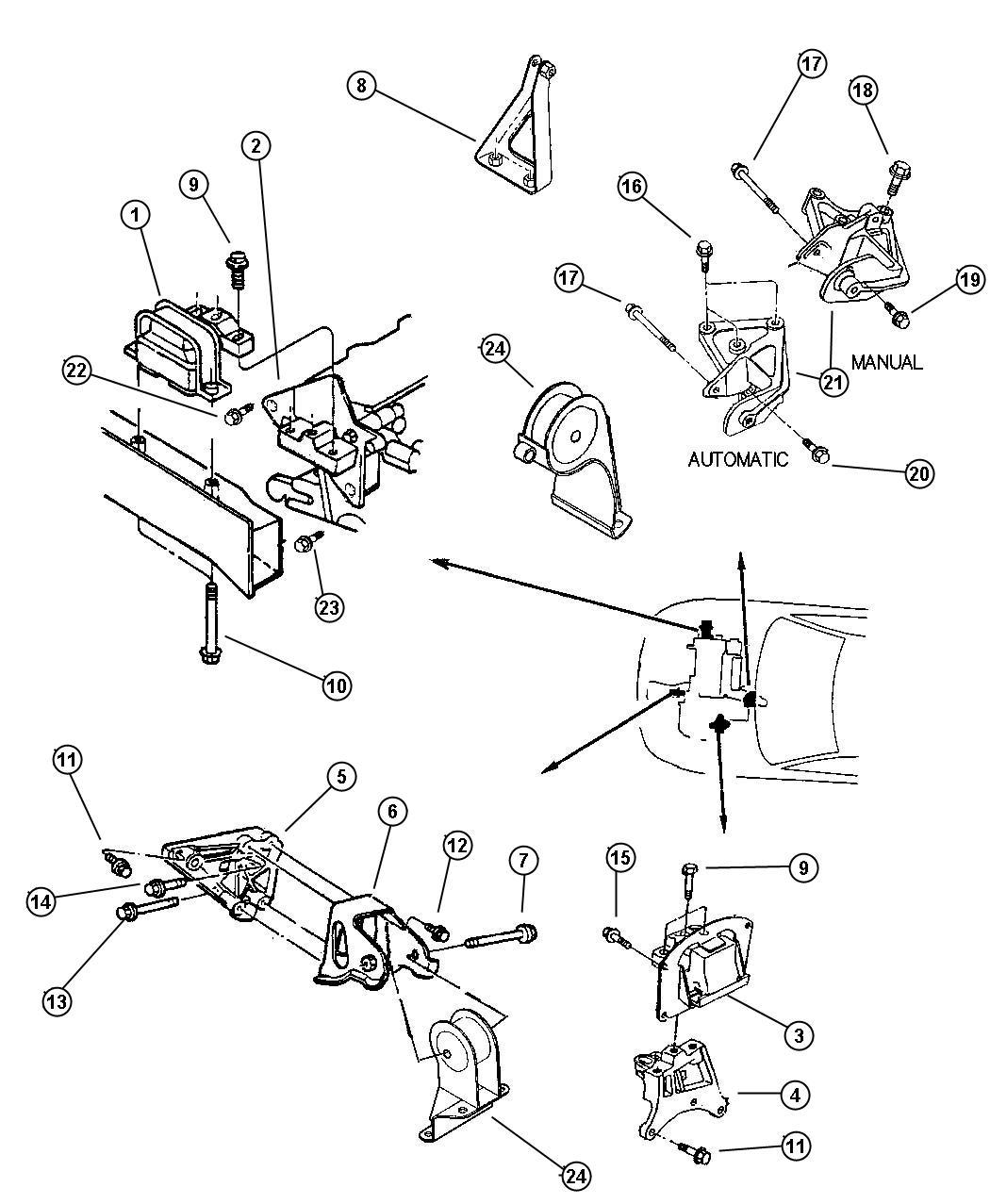 Dodge Caravan Module Engine Support Rear Mounts