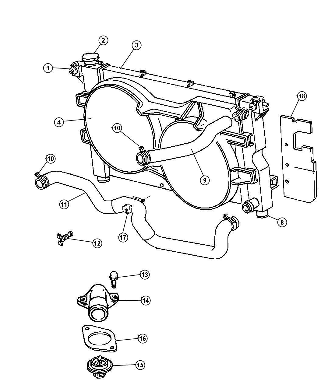 Chrysler Grand Voyager Clamp Hose Radiator 46x15 Lower