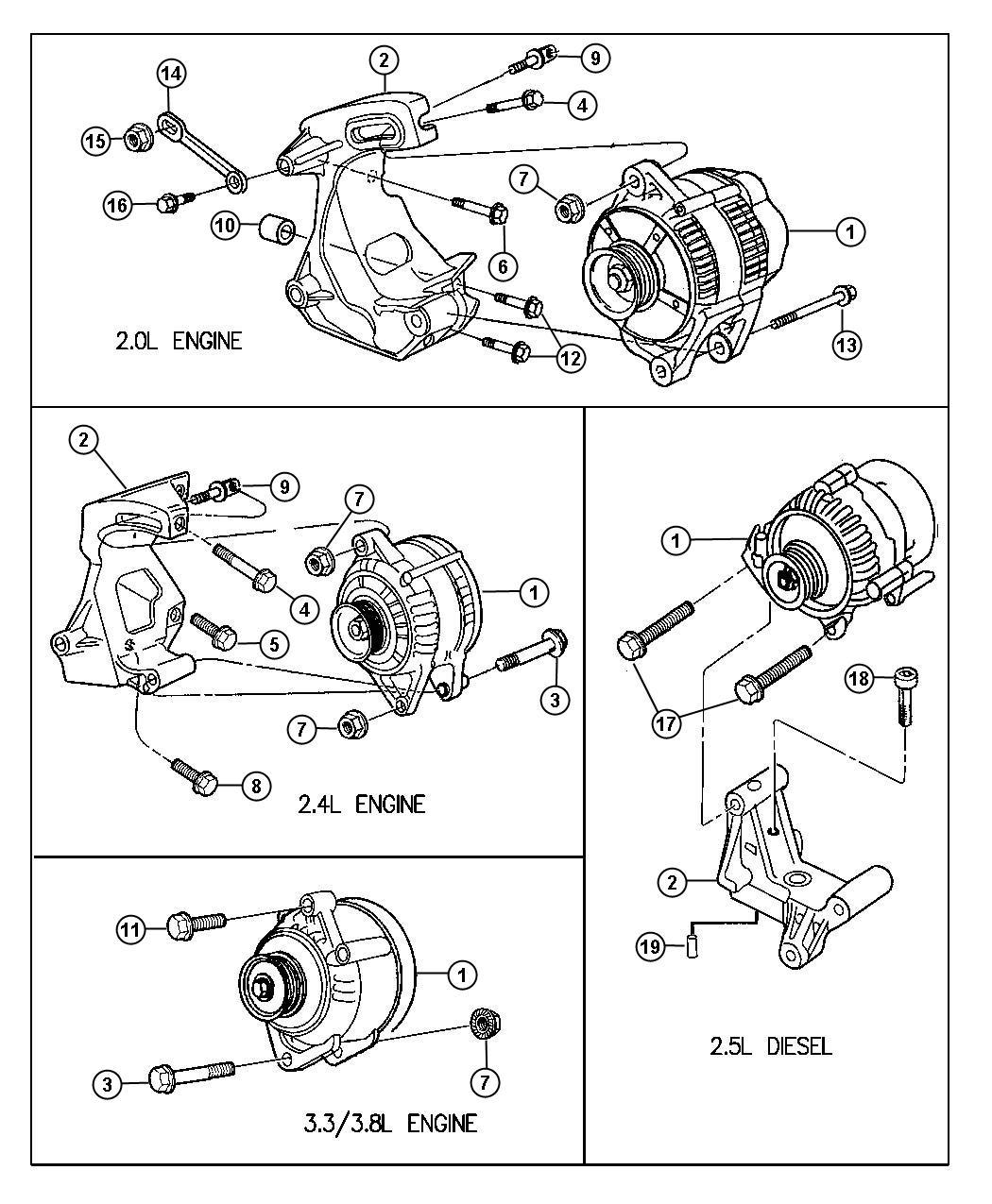 Chrysler Cirrus Cover Alternator Bracket Alternator