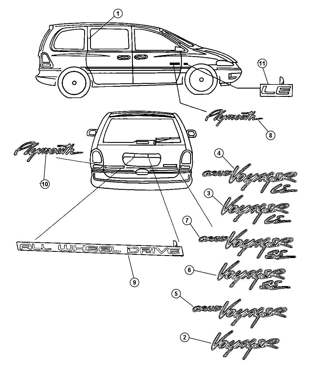 Dodge Grand Caravan Tape C Pillar Rear Right 3 4