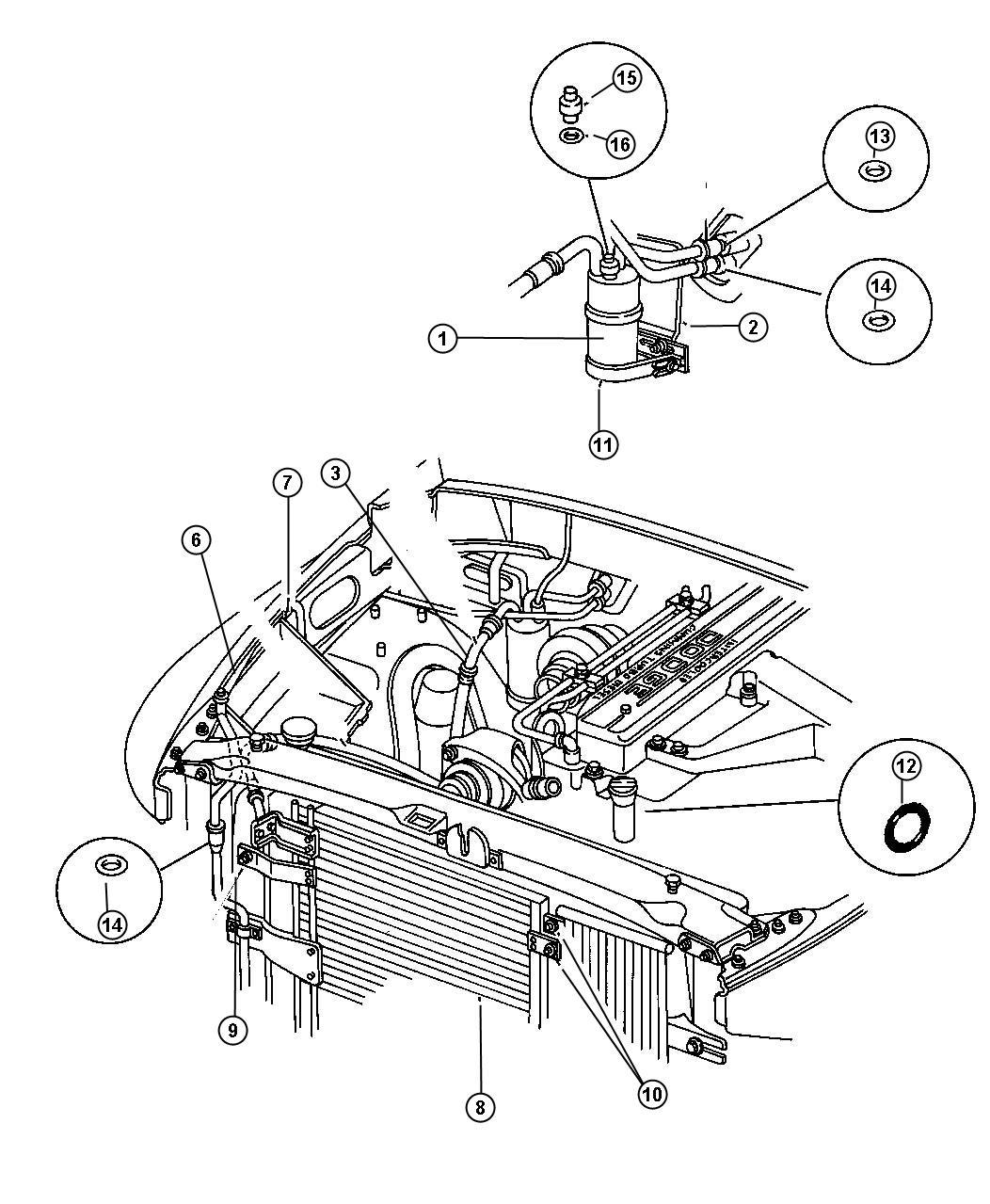 Dodge Ram Condenser Air Conditioning Plumbing