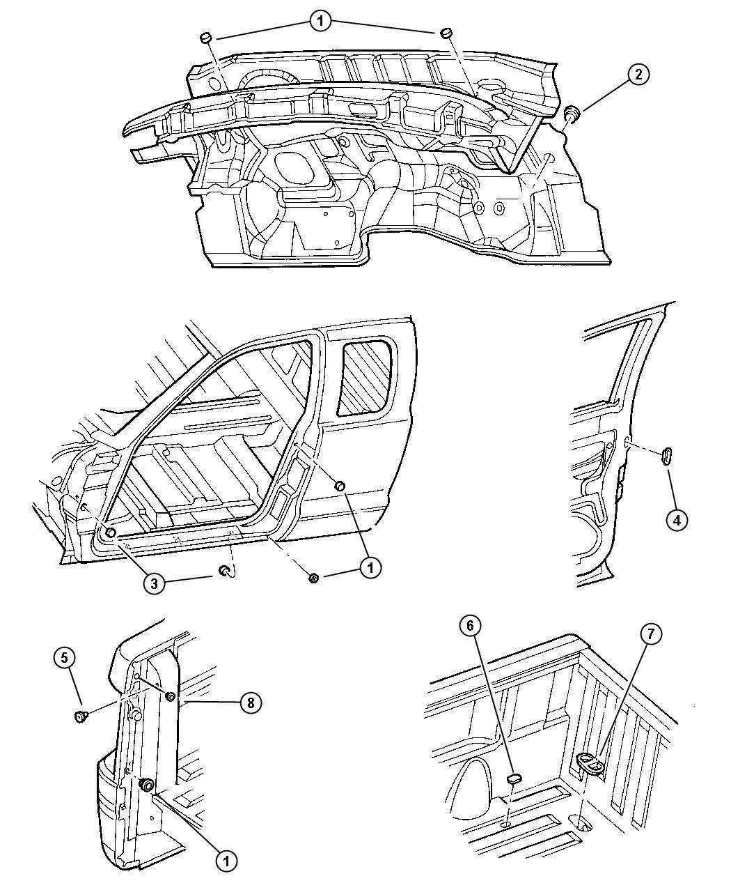 Chrysler Sebring Plug Floor Pan Rubber Rubber