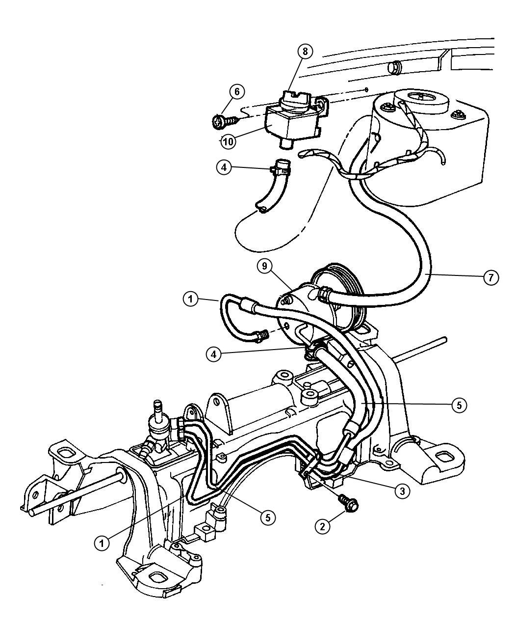 Dodge Grand Caravan Hose Power Steering Engine Pinion