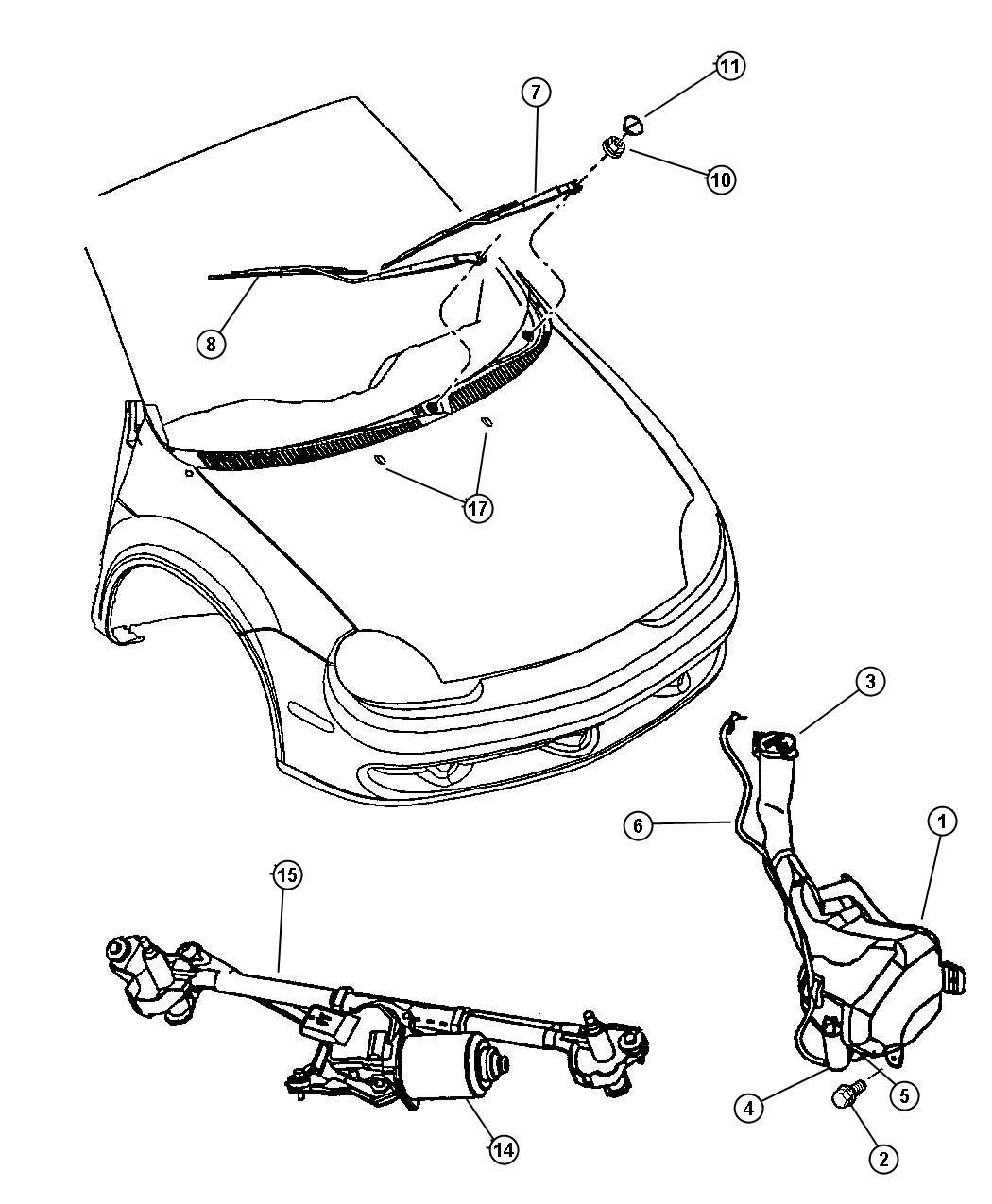 Dodge Neon Reservoir Washer Sohc Smpi Engine