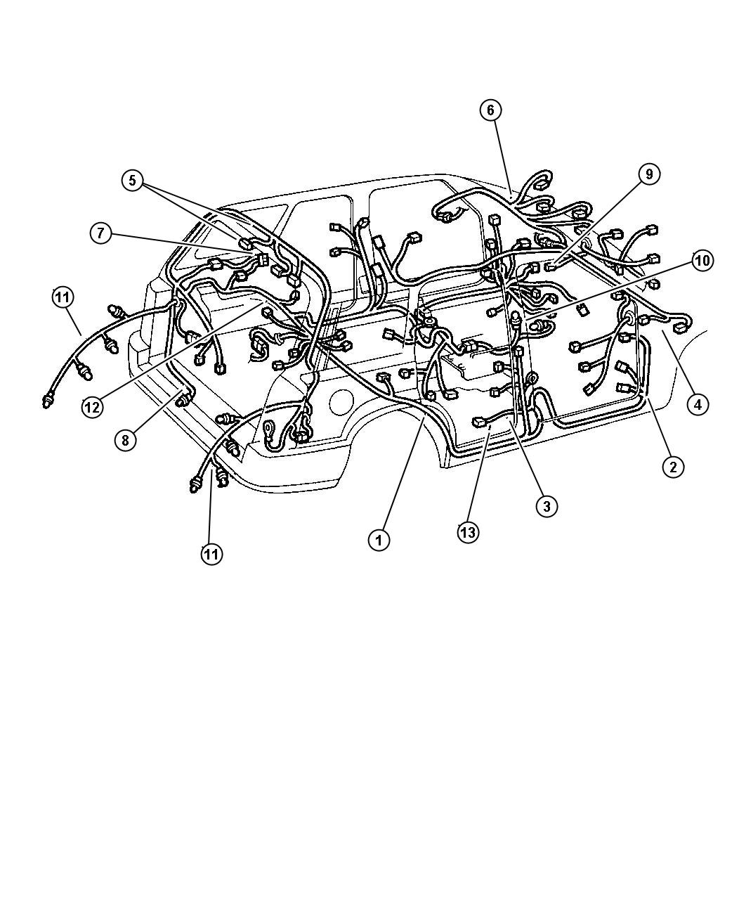 Dodge Dakota Wiring Tail Lamp With Sockets Rear Body Door