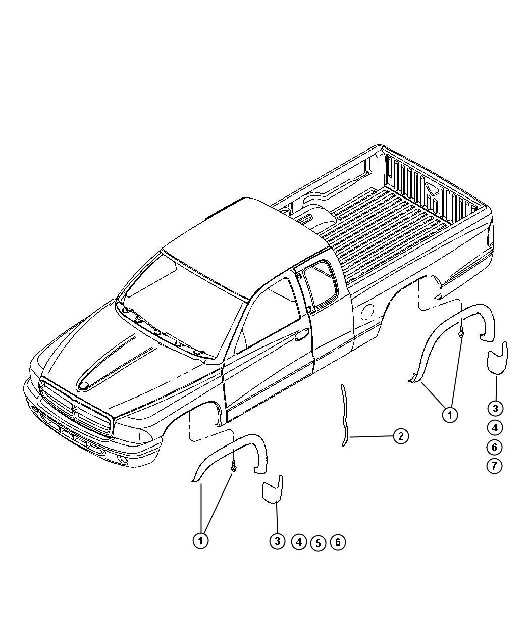 Dodge Dakota Guard Kit Splash Molded