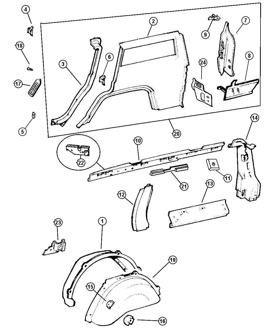 Chrysler Sebring Rail Rear Quarter Belt Decor