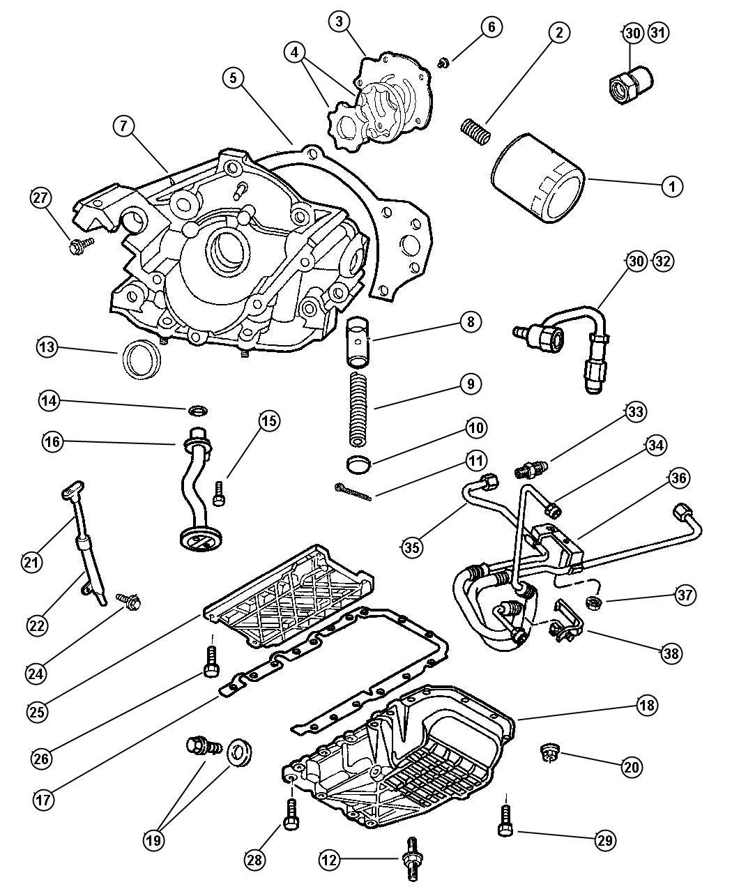 Dodge Intrepid Adapter Connector Oil Filter 3 4 16