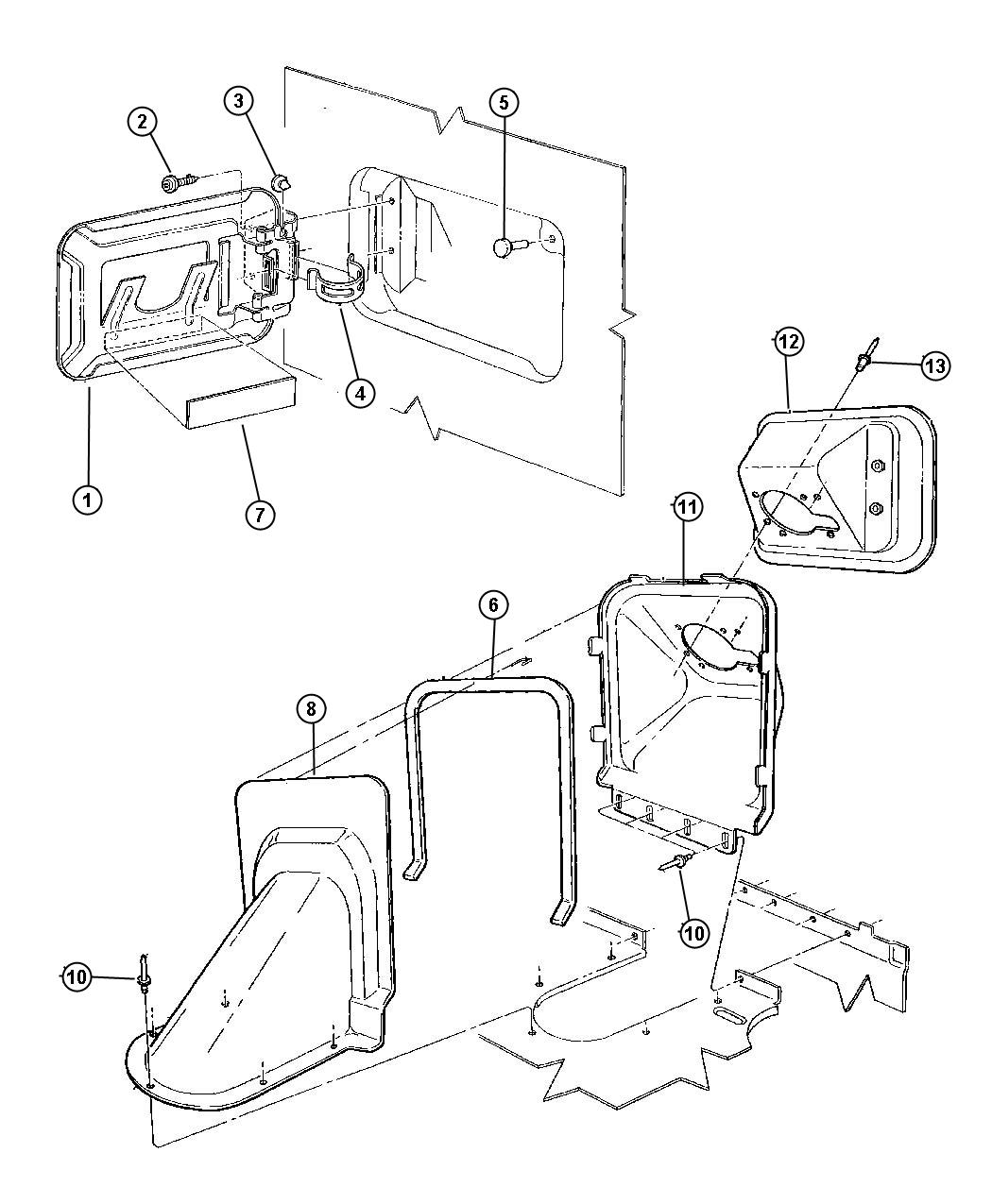 Chrysler Sebring Extension Fuel Filler Housing Door