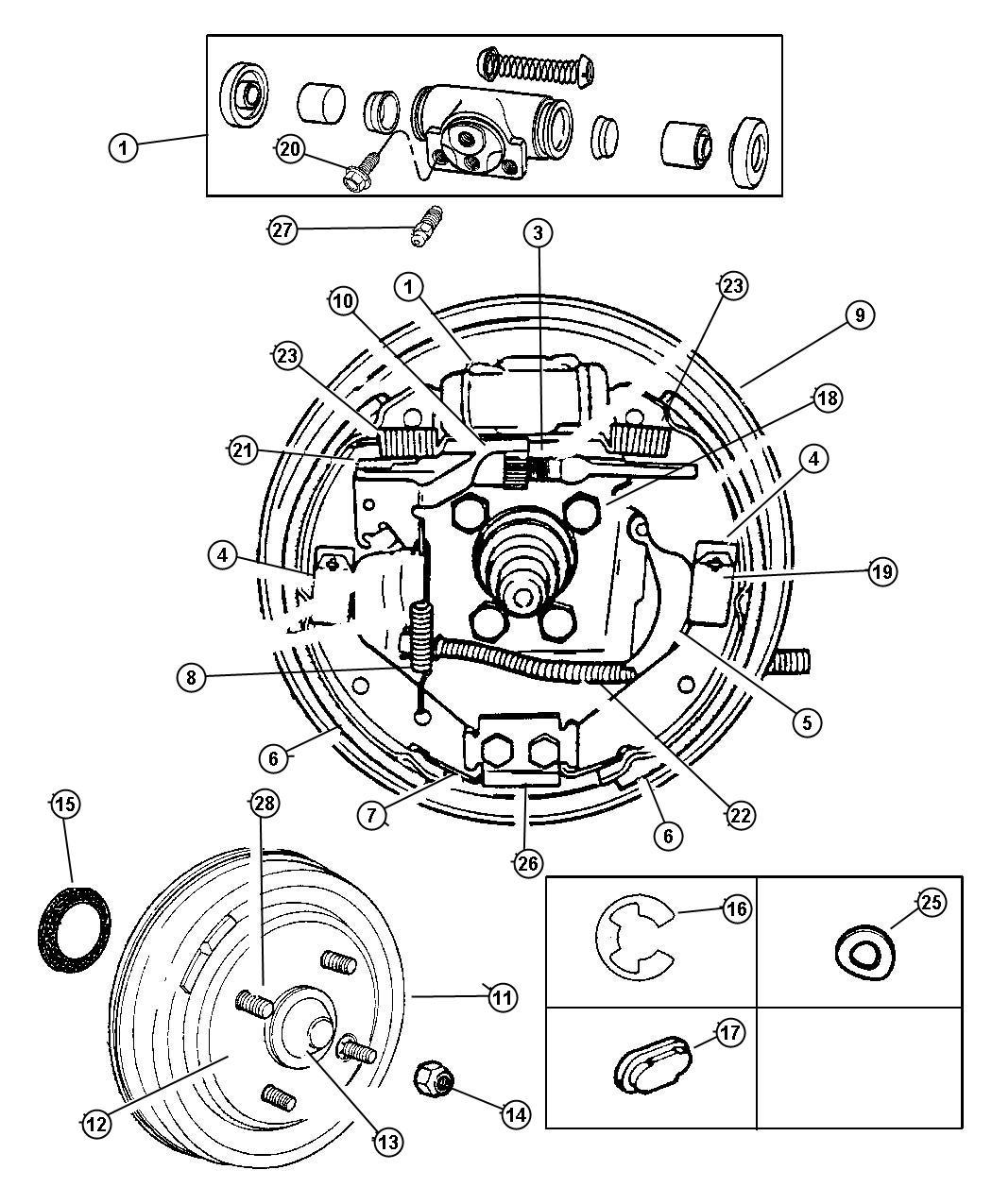 Dodge Ram Cable Parking Brake Left Left Rear Drum