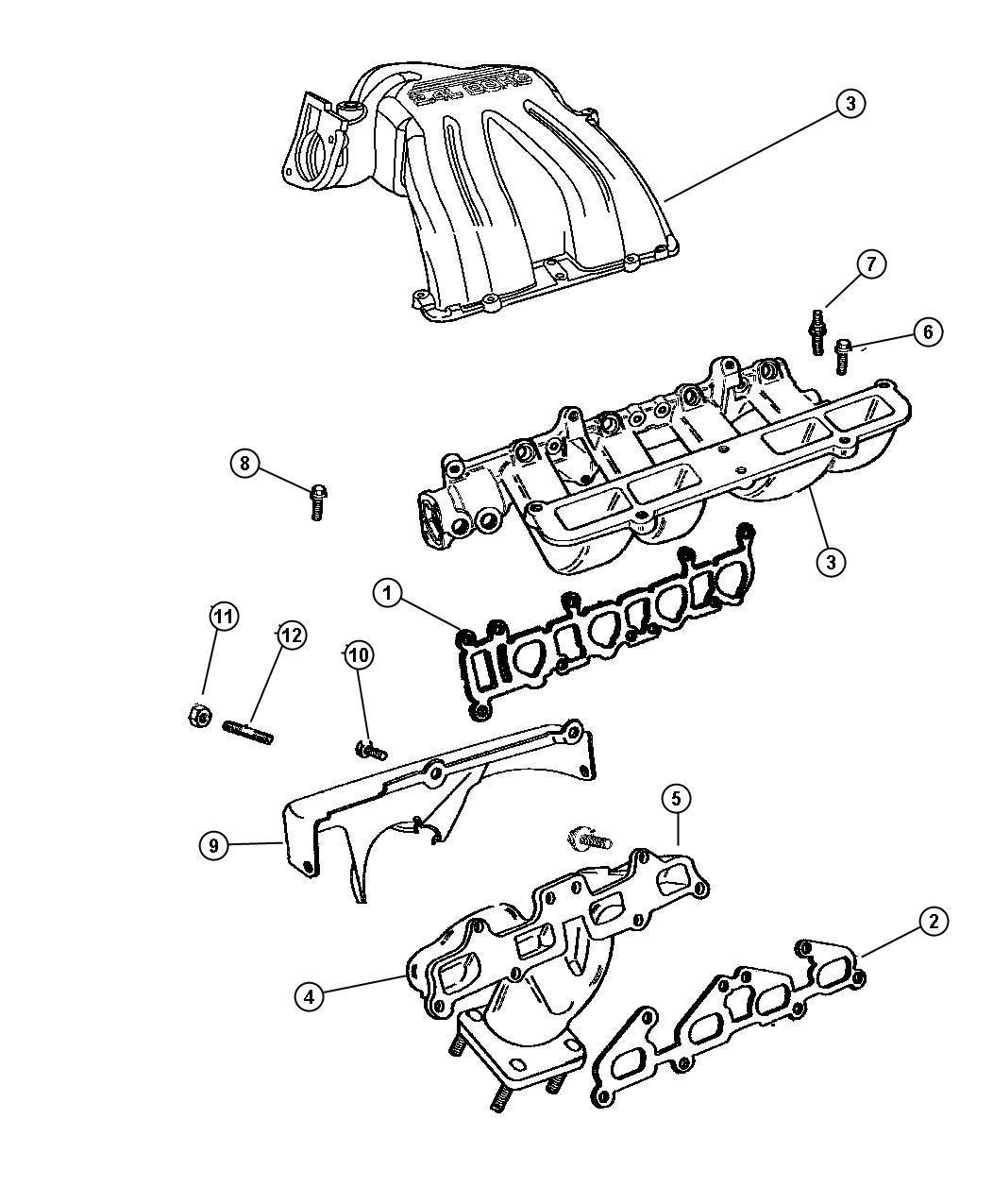 dodge ram gasket intake manifold cylinder head