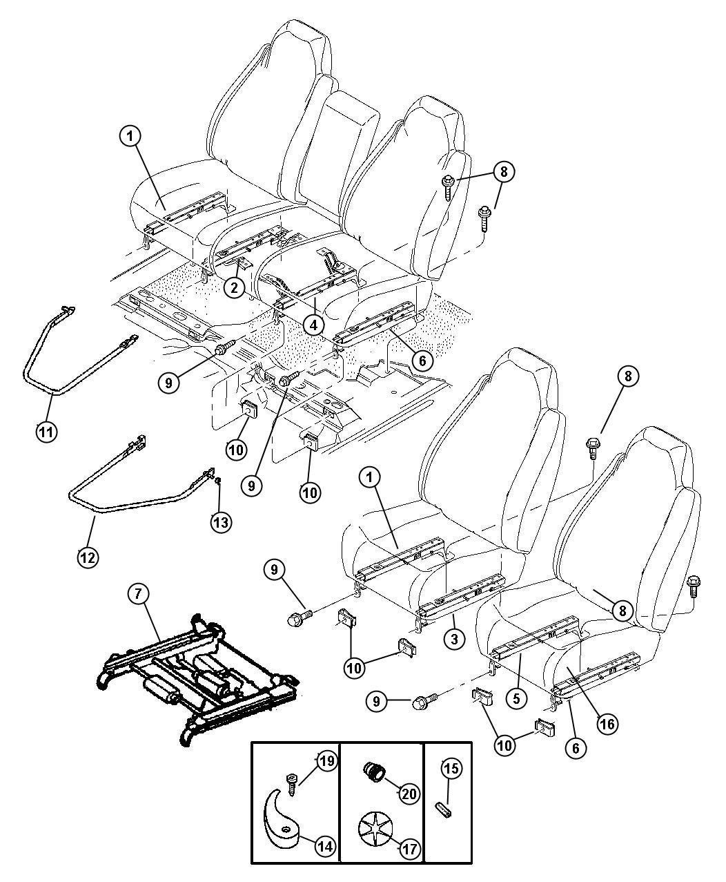 Dodge Ram Bushing Pivot Trim Y9 Seat Split Power