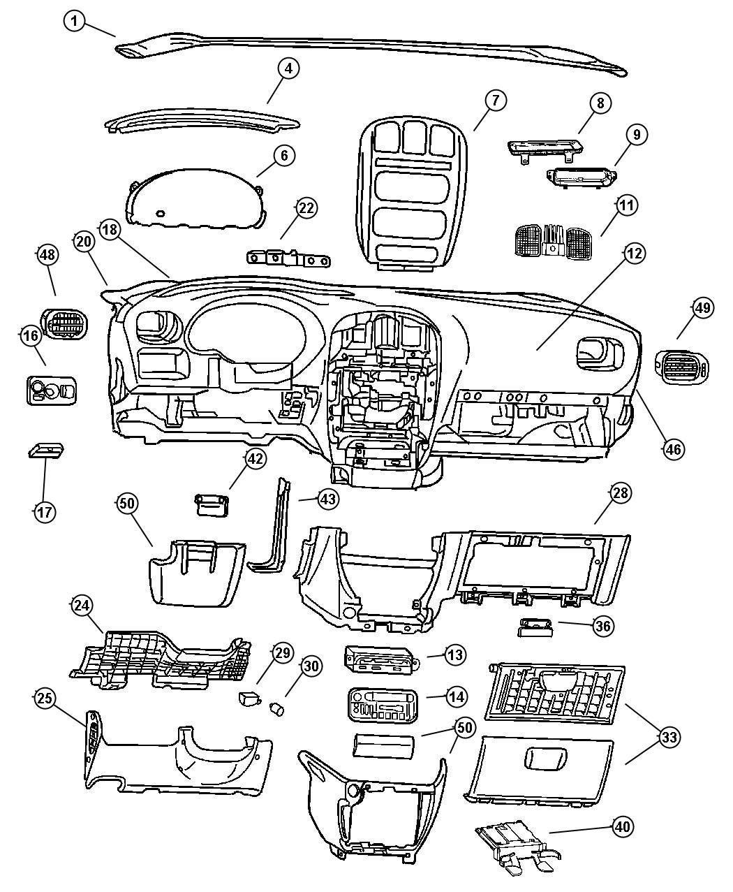 Dodge Grand Caravan Bezel Instrument Panel Over