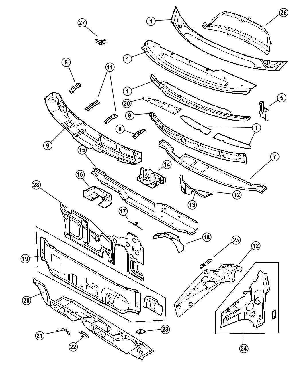 Dodge Ram Reinforcement Cowl Plenum Brake Dash