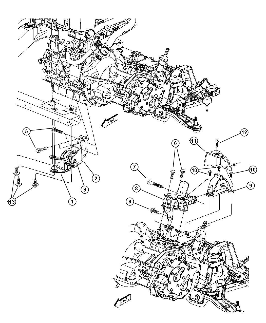 Dodge Ram Support Engine Rear System