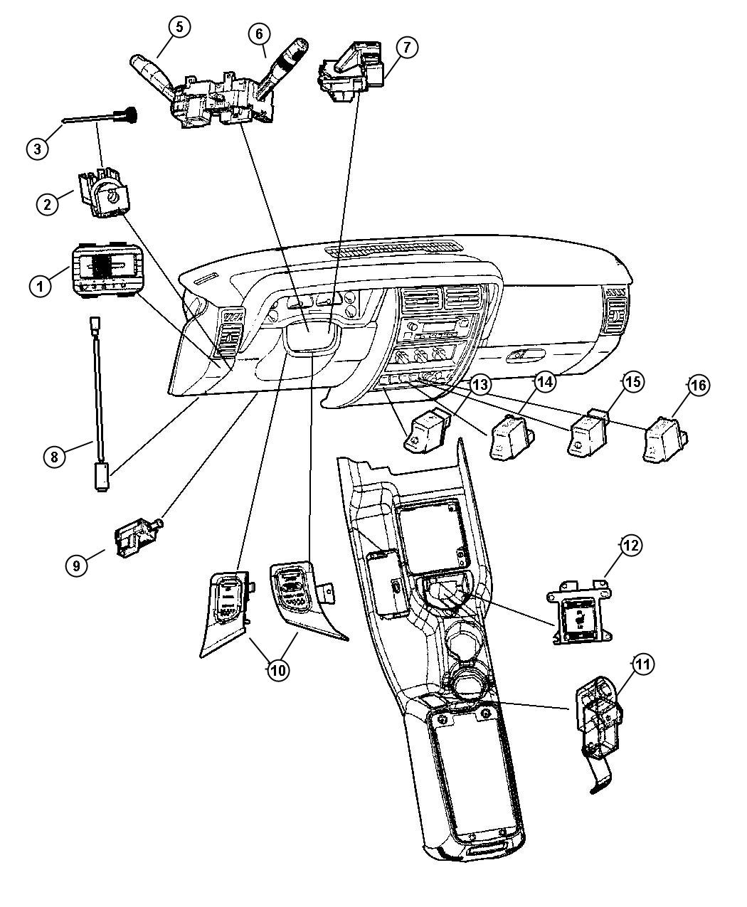 Dodge Grand Caravan Retainer Headlamp Switch