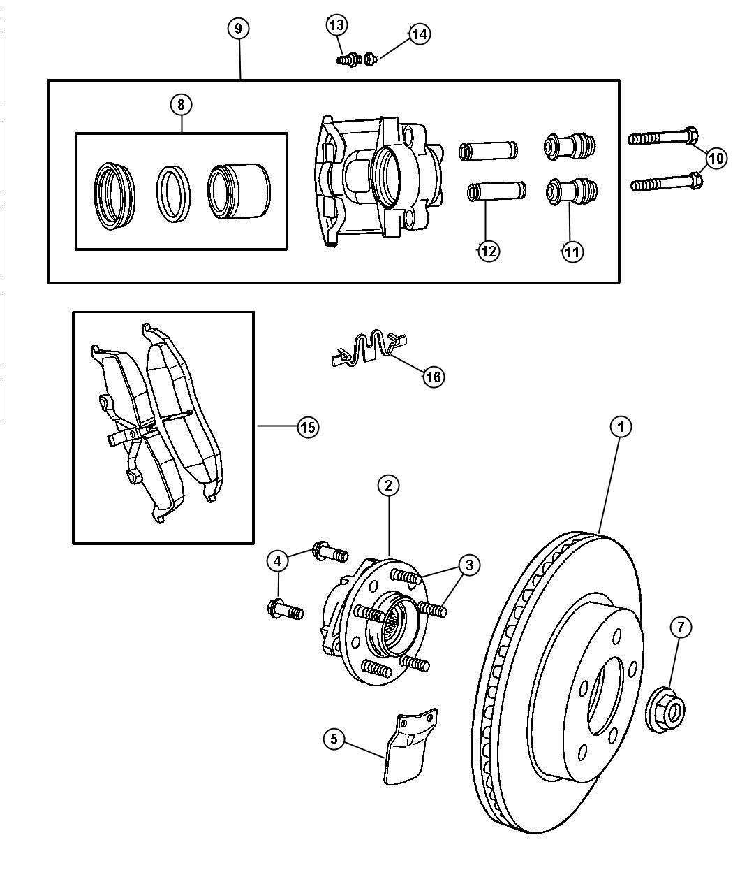 Dodge Intrepid Pad Kit Front Disc Brake Suspension