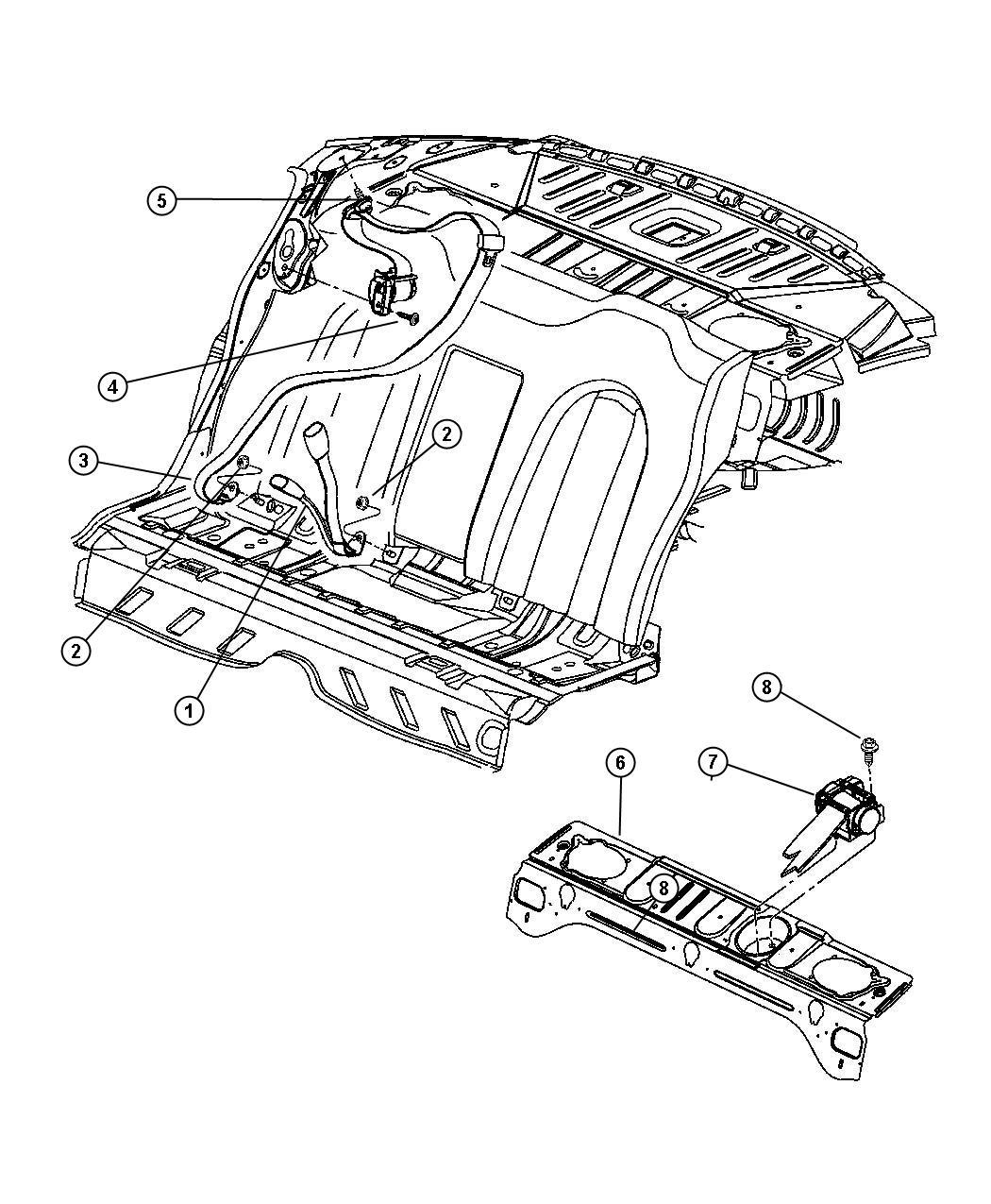 Chrysler 300 Seat Belt Rear Inner Dark Slate Gray