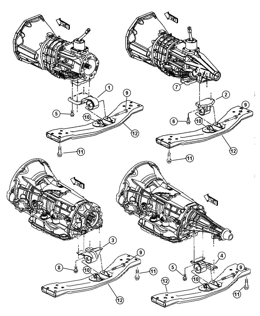 Chrysler Sebring Used For Bracket And Insulator Transmission Support Transmission