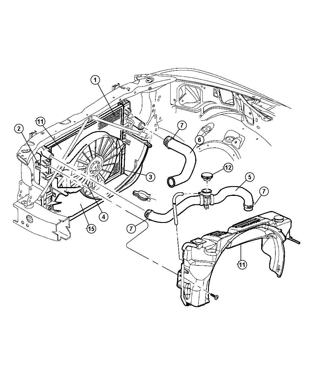 Dodge Durango Hose Radiator Inlet Includes Cap
