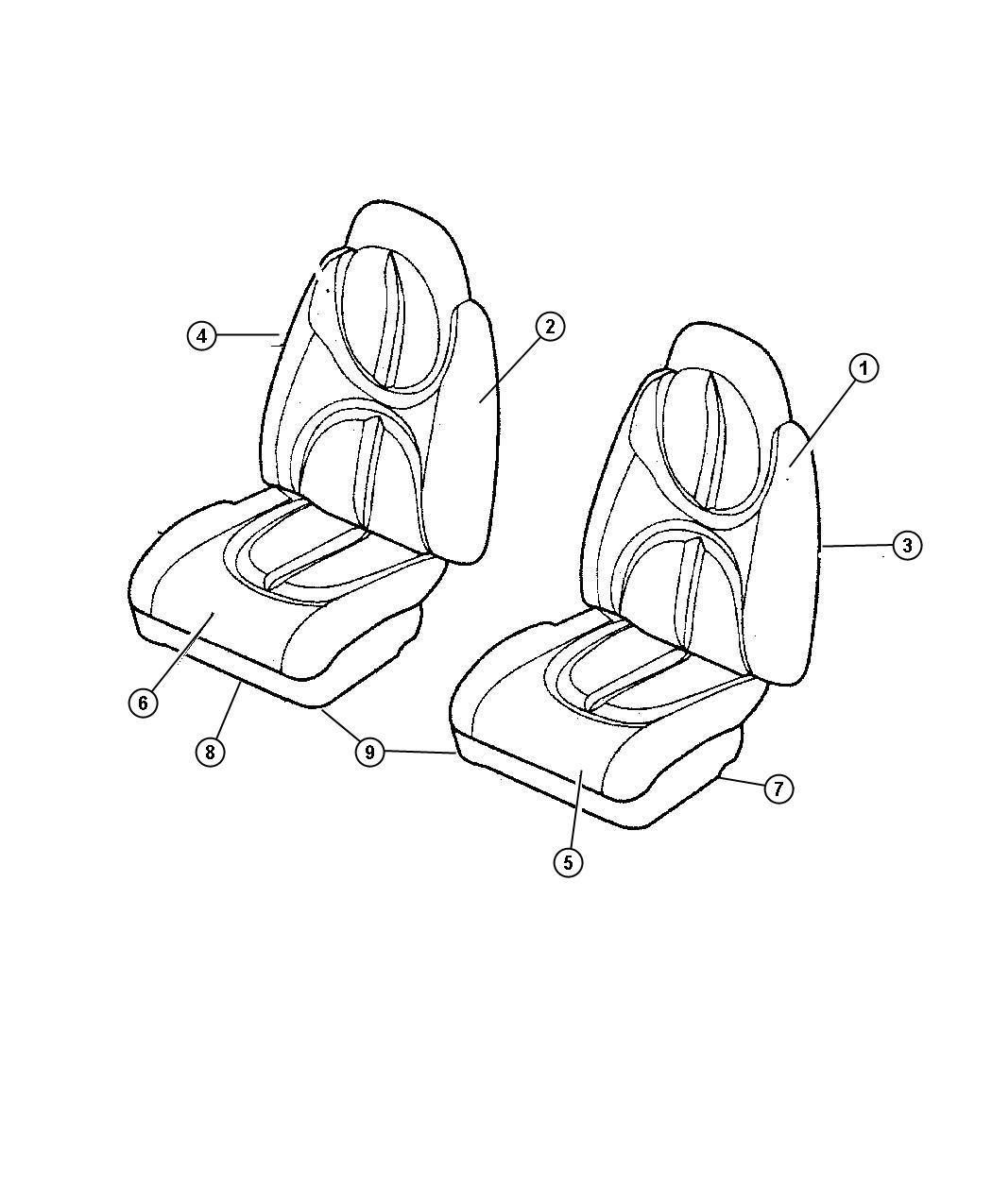 Chrysler Sebring Cover Front Seat Cushion T5 T5