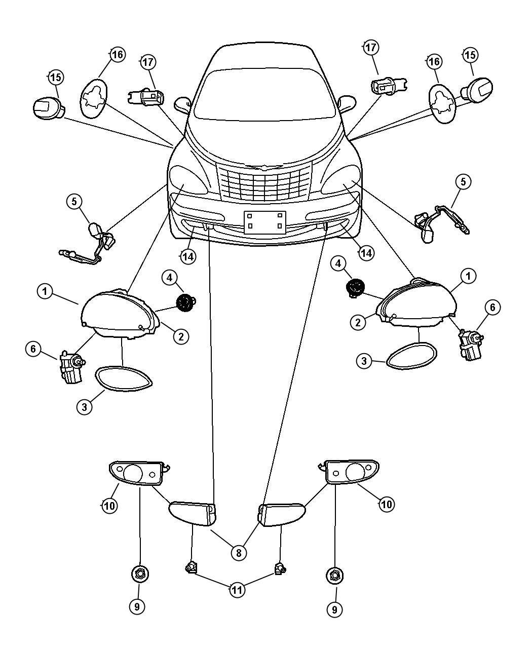 Chrysler Pt Cruiser Module Headlamp Right Export