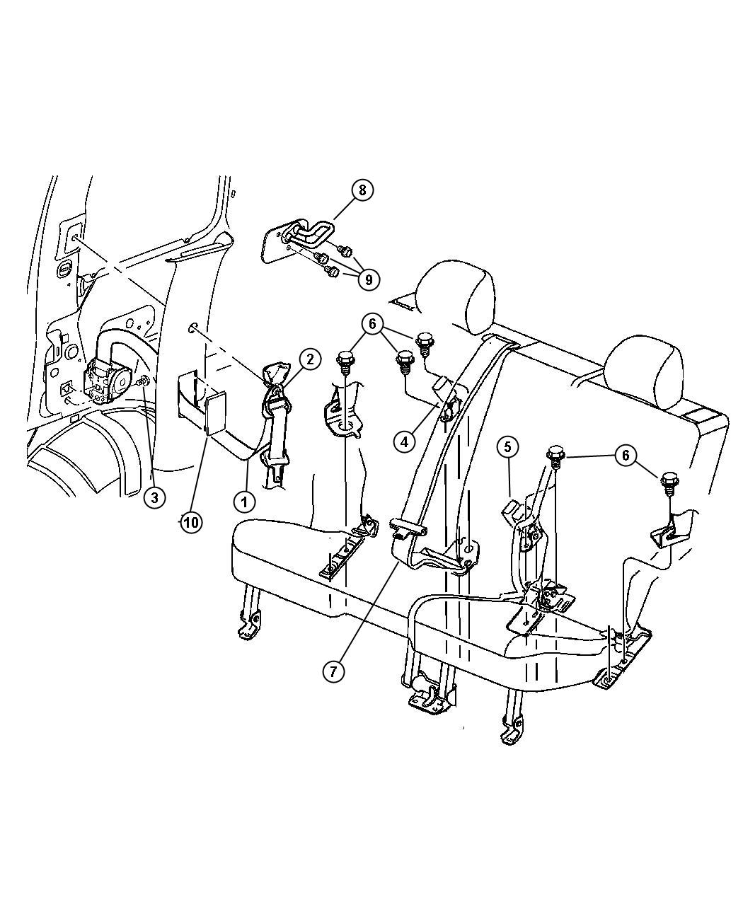Dodge Durango Seat Belt Rear Outer Left Trim All