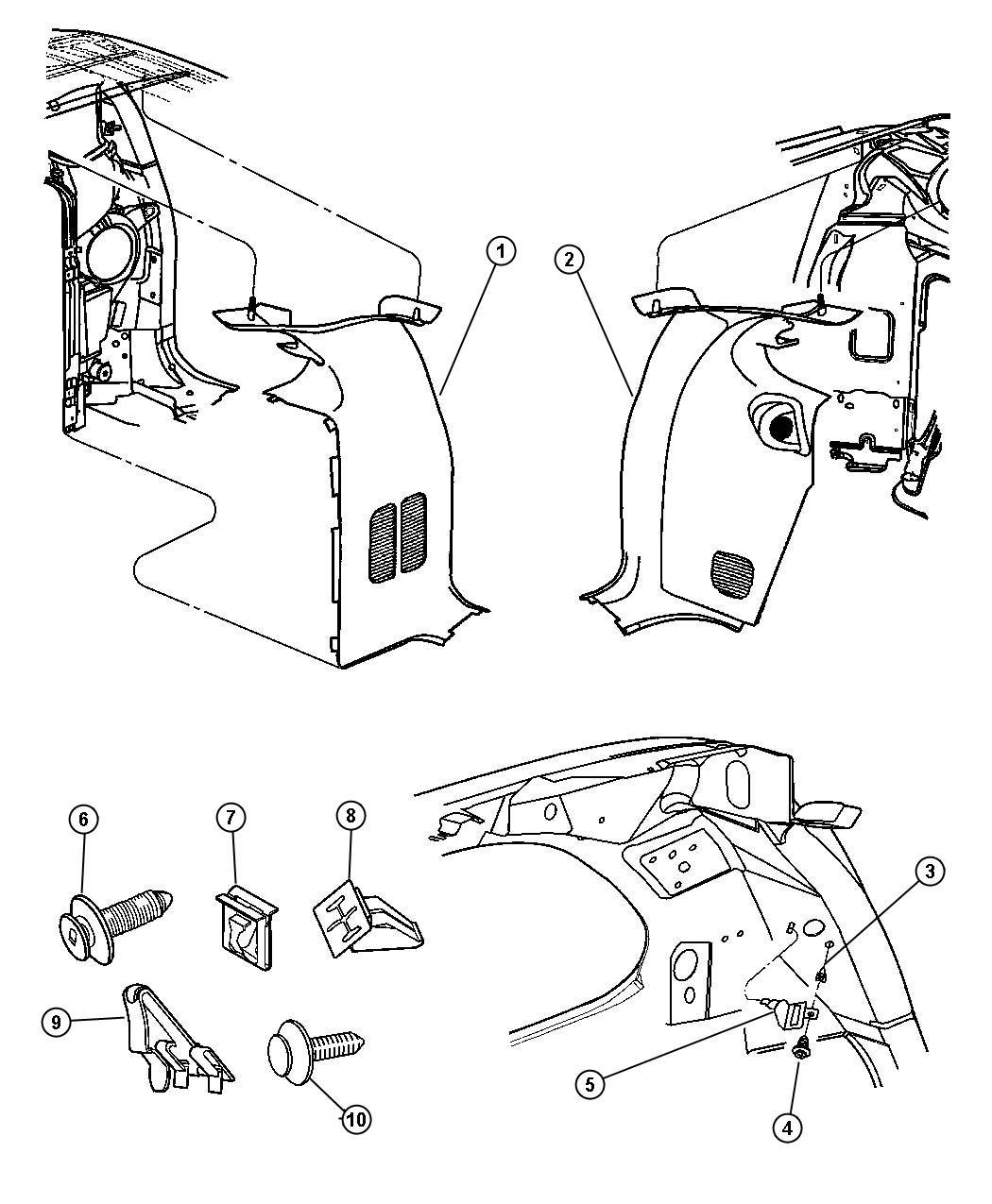 Dodge Grand Caravan Molding D Pillar Trim All Trim