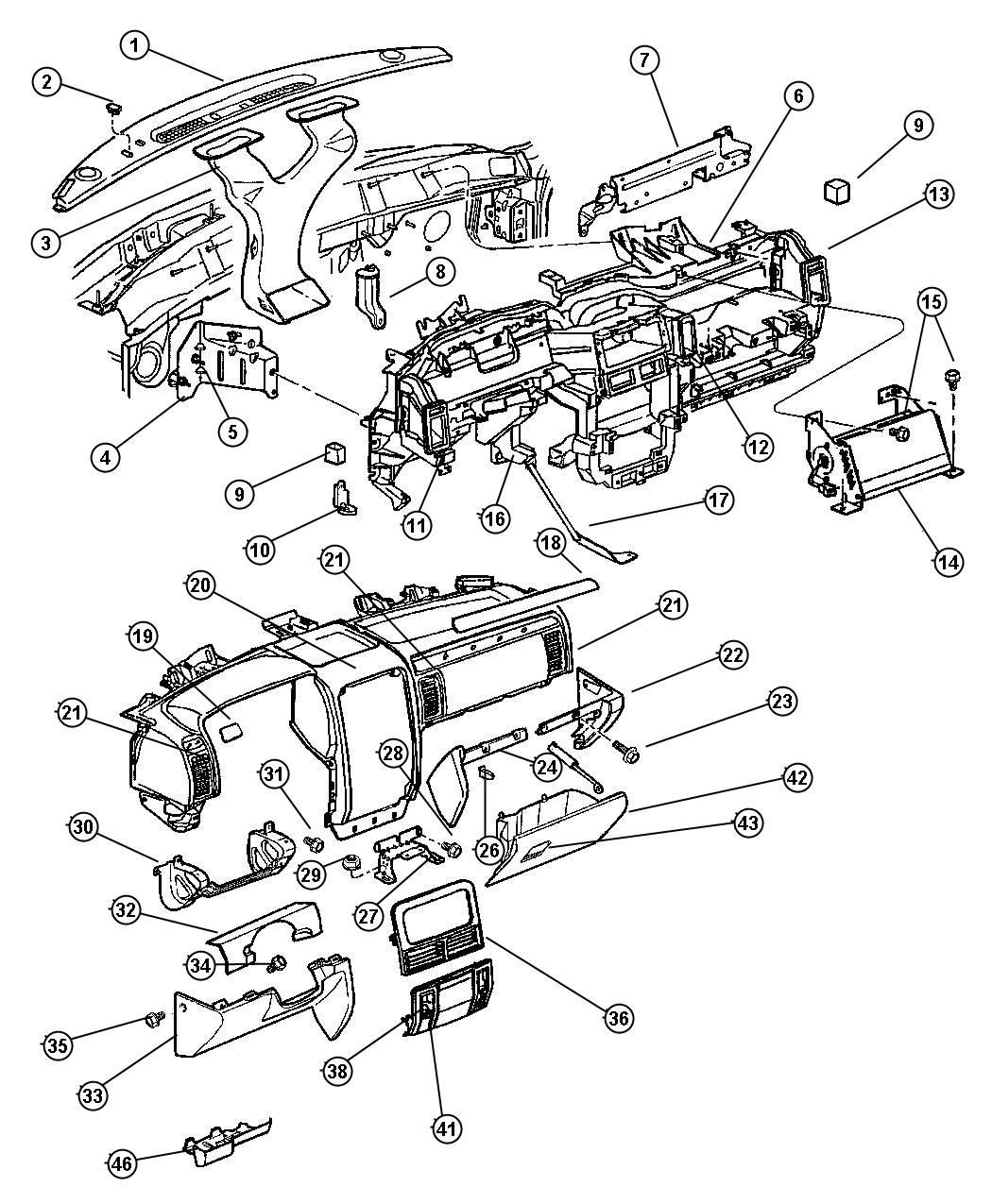 Jeep Grand Cherokee Bezel Instrument Panel Upper
