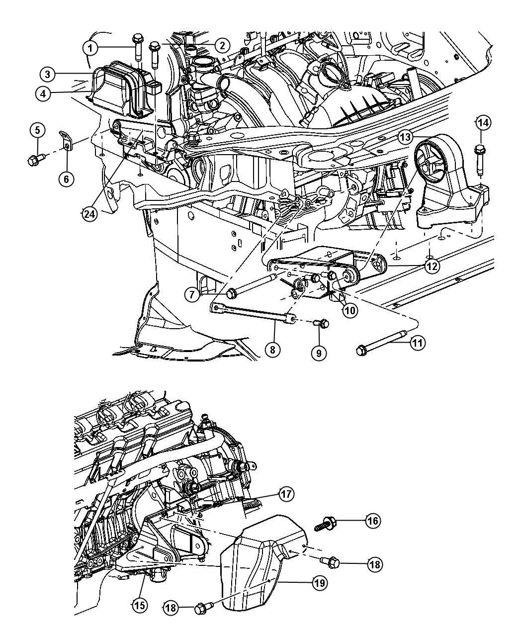 Chrysler Sebring Bracket Engine Mount Emissions