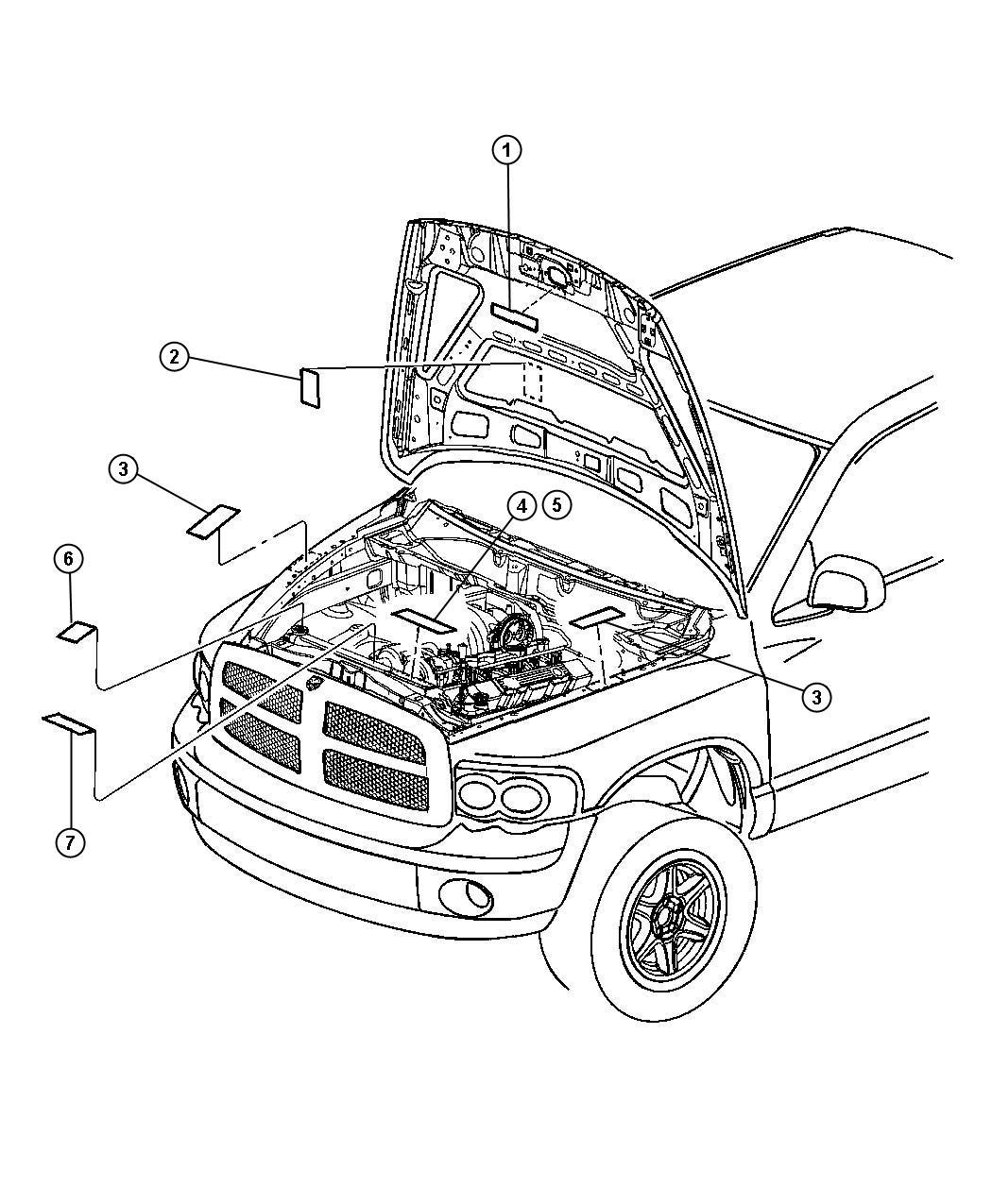 Dodge Ram Label Battery Jump Start Front Belts