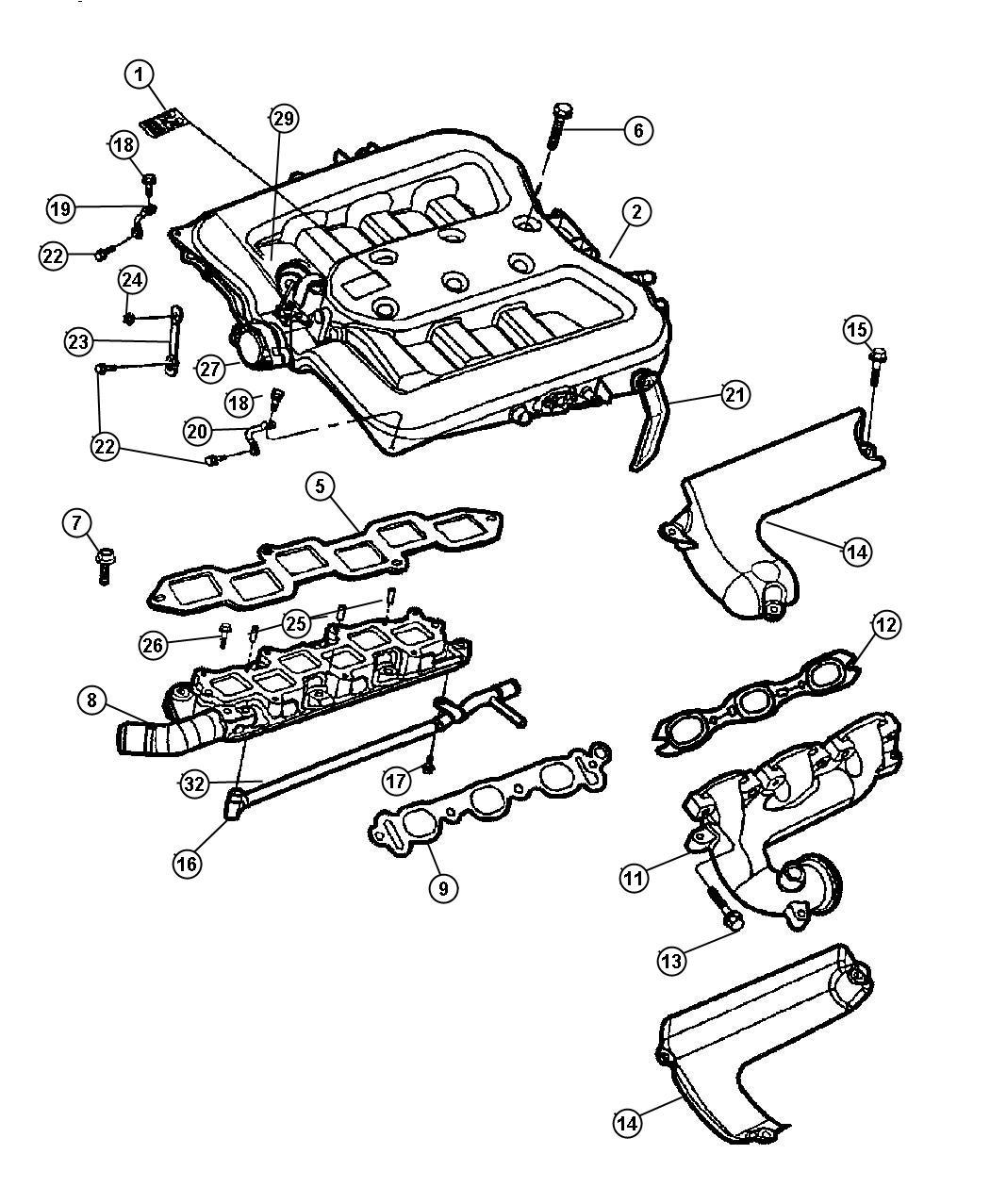 Dodge Intrepid Shield Lower Left Exhaust Manifold Engine Number Ab Lower Left