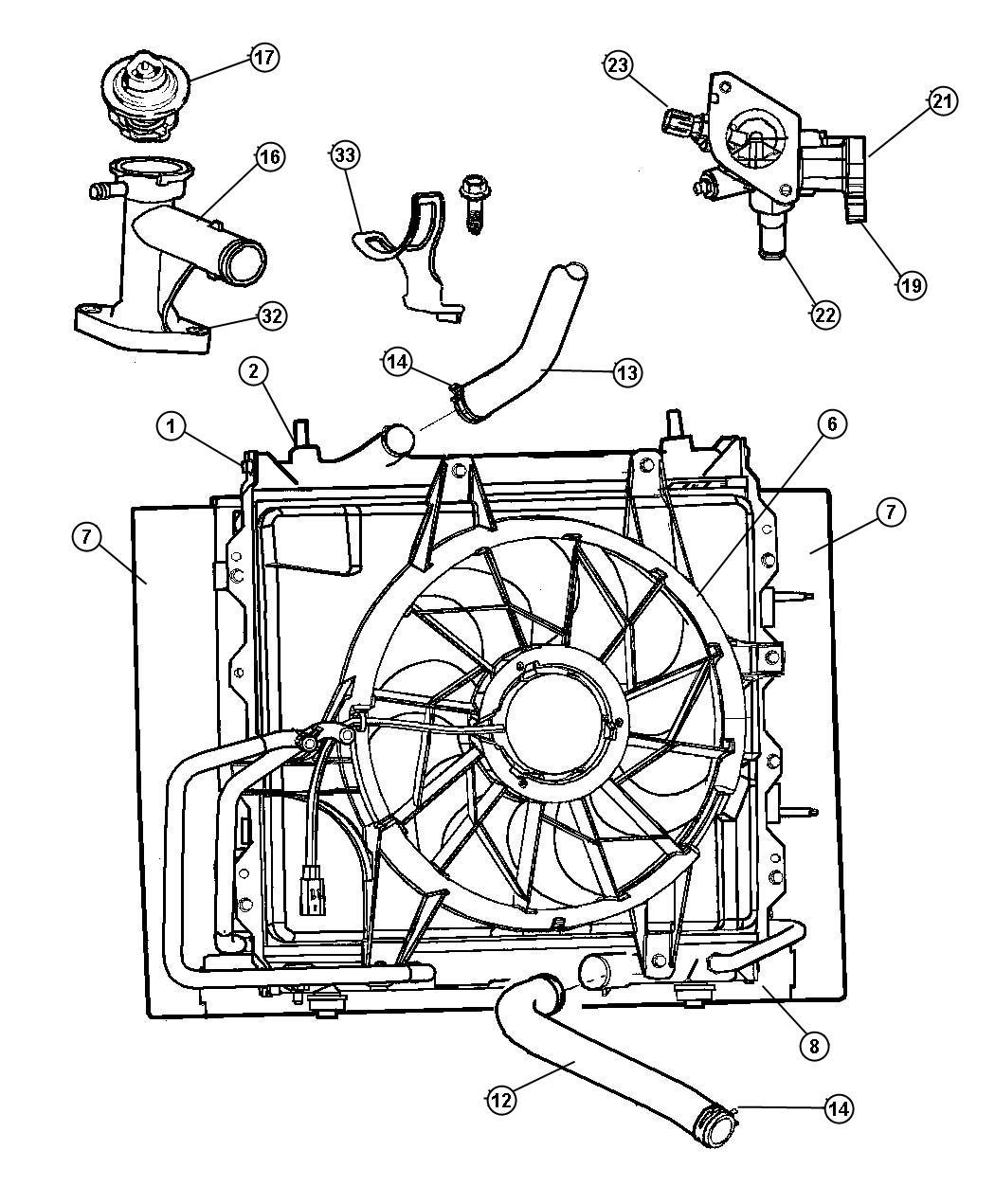 Dodge Magnum Connector Engine Coolant Outlet