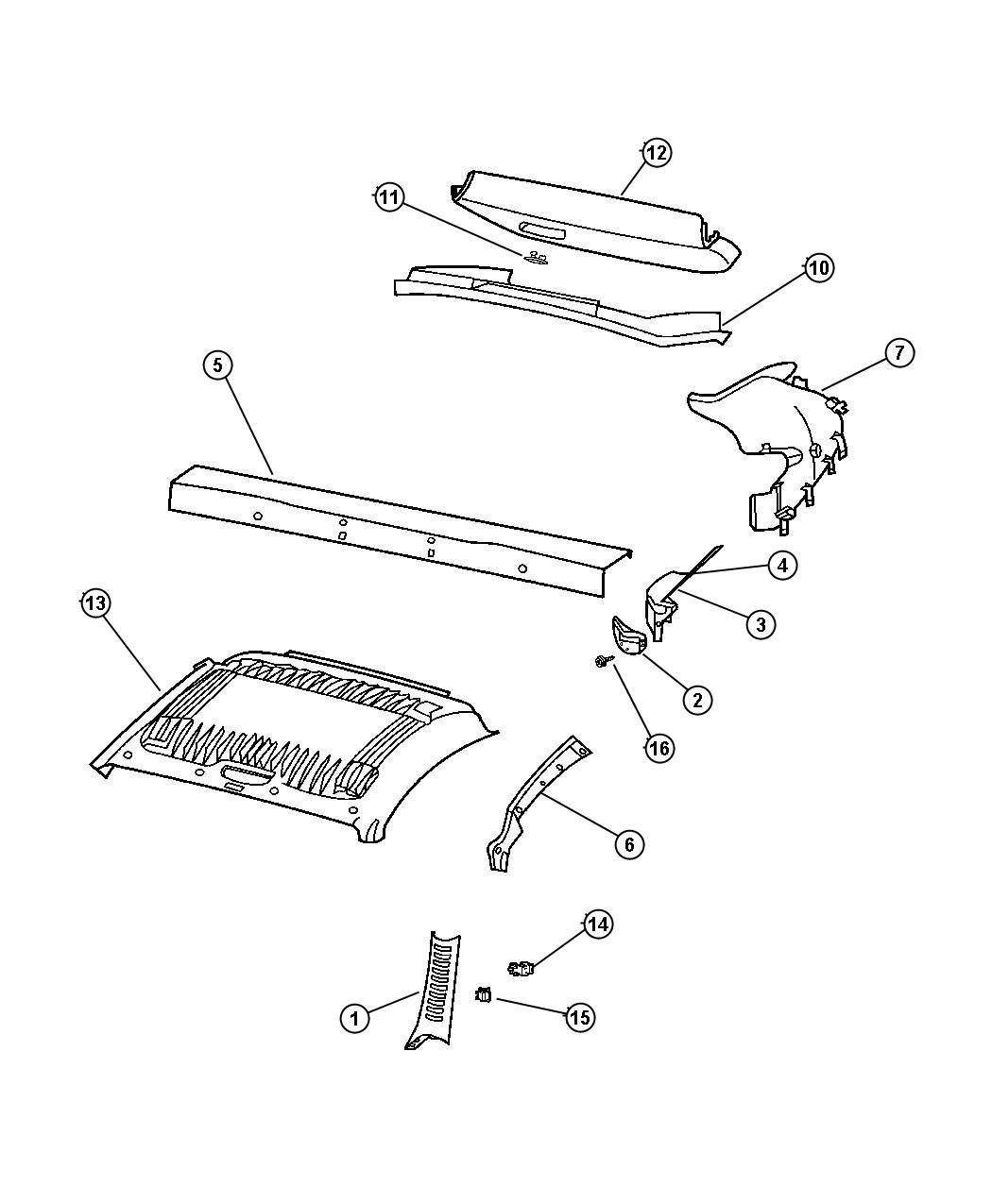 wiring diagram database  chrysler crossfire clip trunk carpeting rear  interior