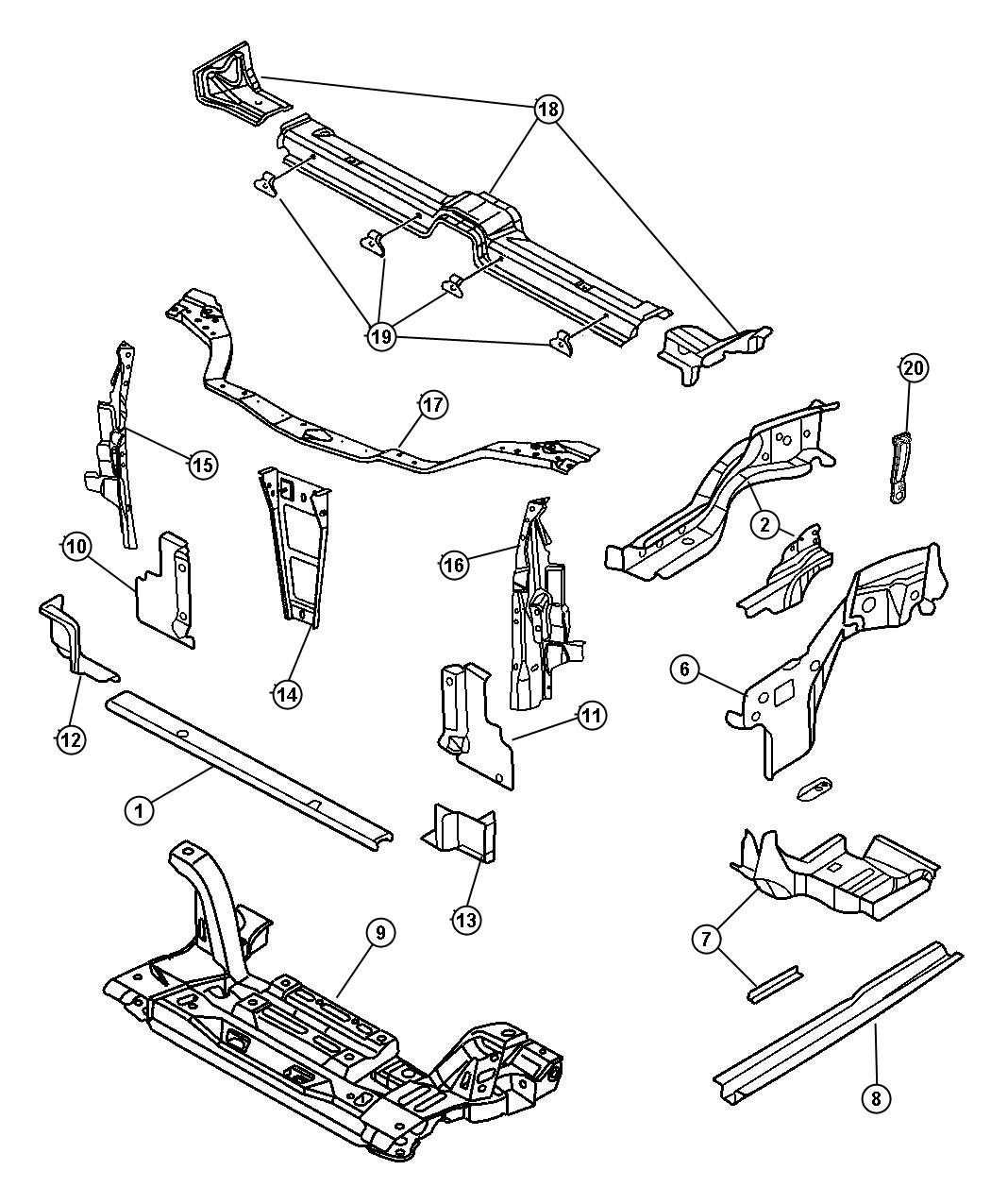 Dodge Neon Panel Radiator Closure Left Upper Left Left
