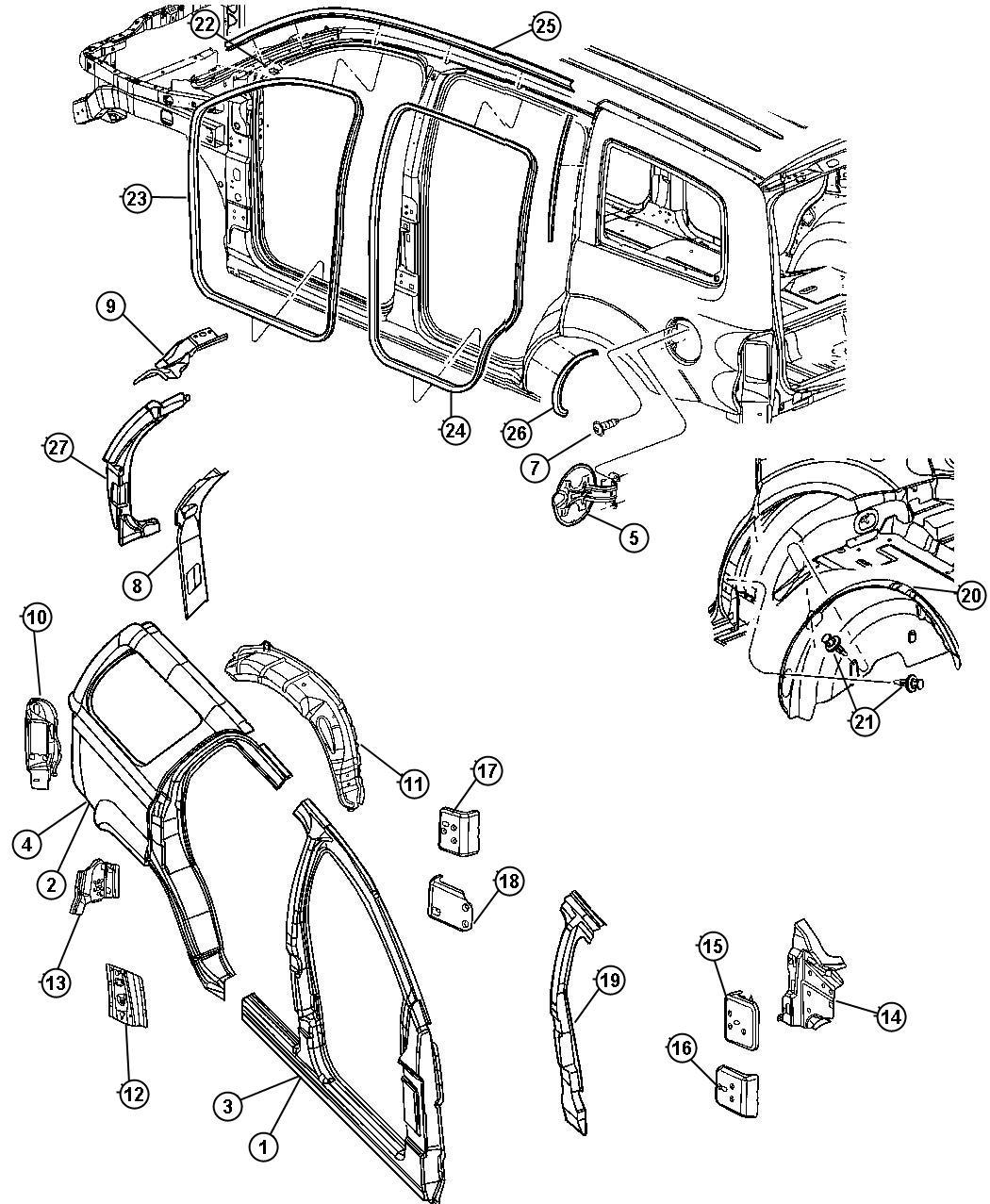 Dodge Durango Door Fuel Fill Panel Aperture