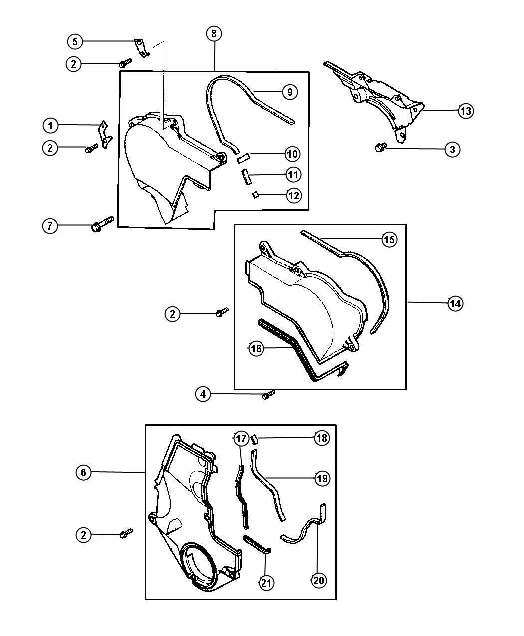 Dodge Stratus Gasket Timing Cover Steering Belt