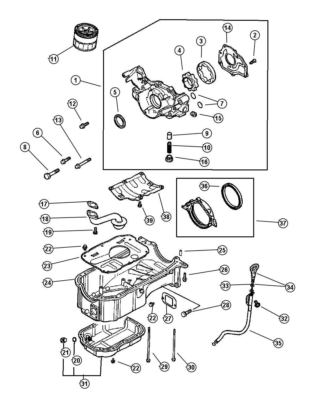 Chrysler Sebring Bolt Oil Pan Engine Oiling