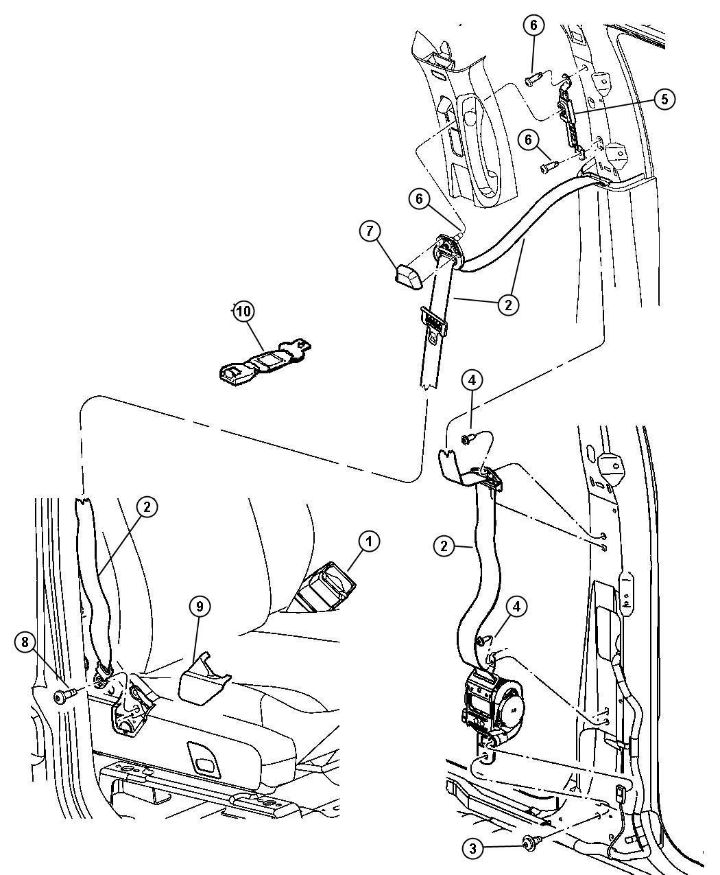 Dodge Durango Cover Seat Belt Anchor Right J1 Trim