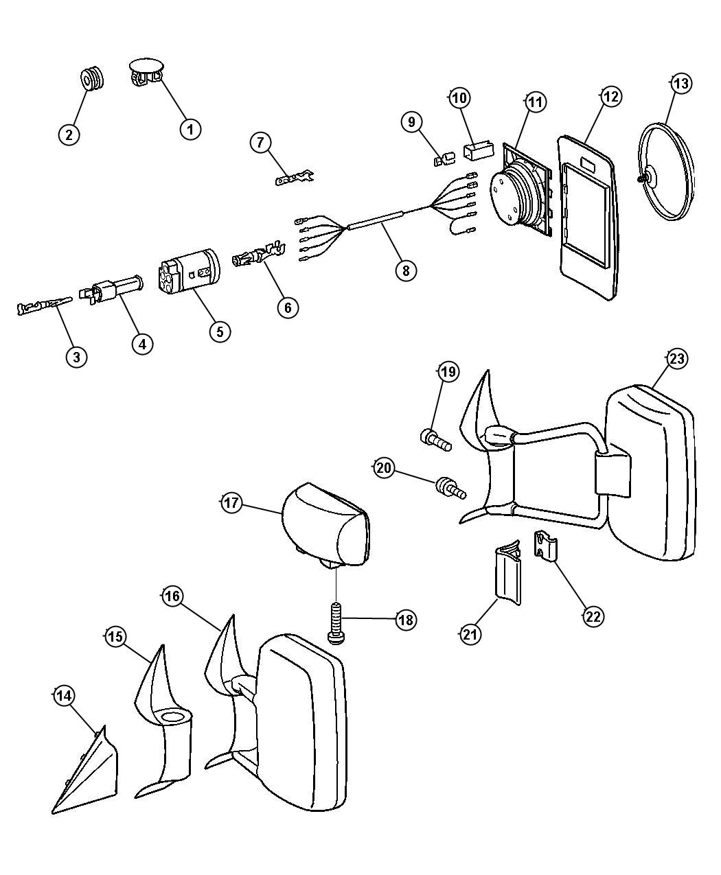 Dodge Sprinter Glass Kit Outside Rearview