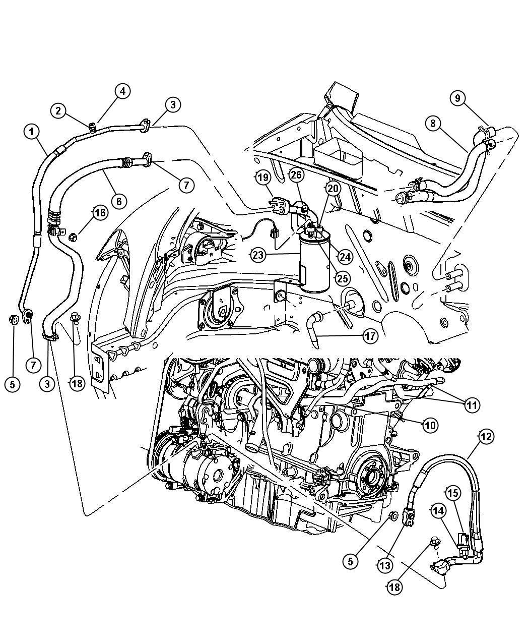 Dodge Nitro Tube Heater Core Plumbing Front Edt