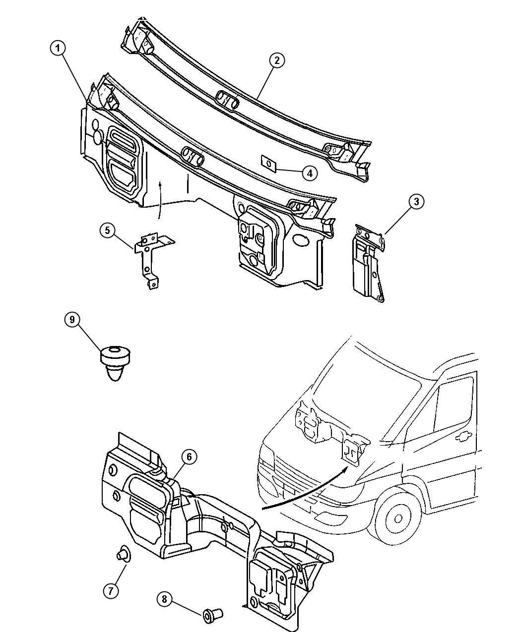 Dodge Sprinter Panel Dash Upper Plate