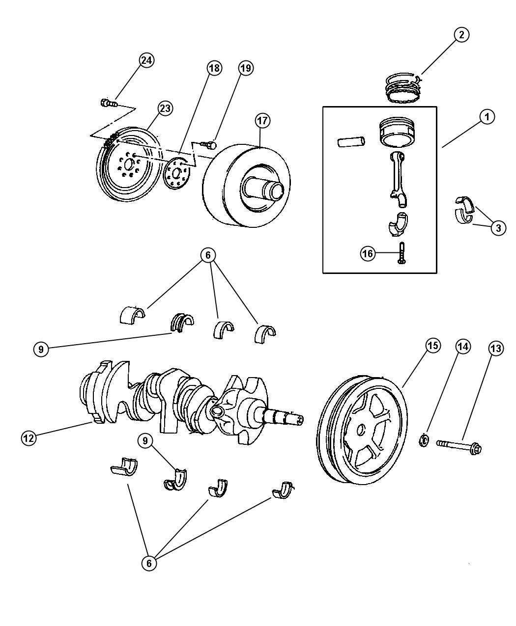 Dodge Grand Caravan Crankshaft Engine Ohv Pistons