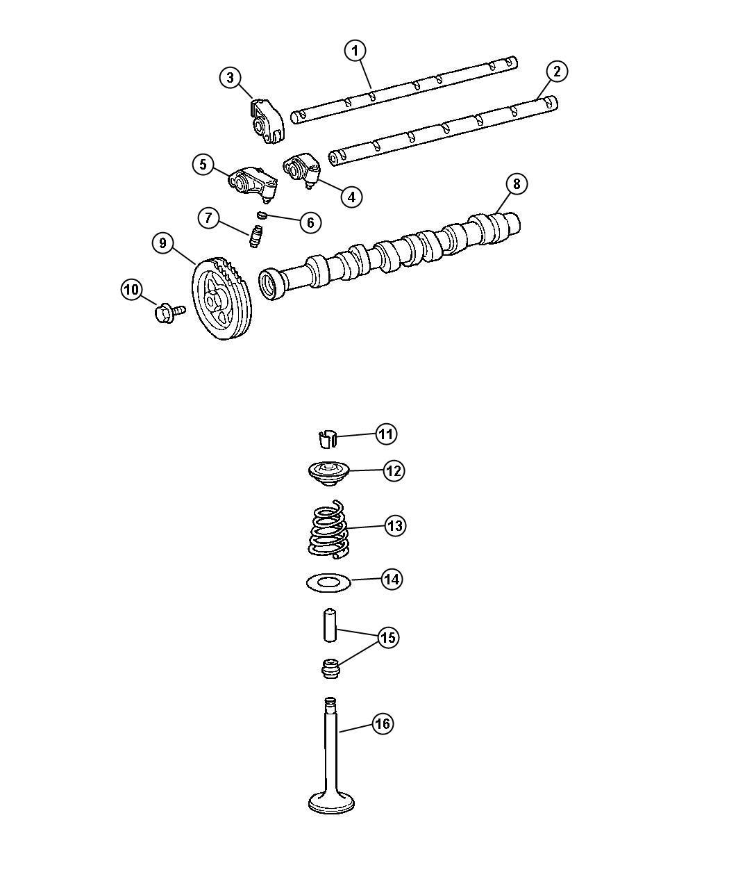 Chrysler Crossfire Rocker Arm Exhaust Valves Engine