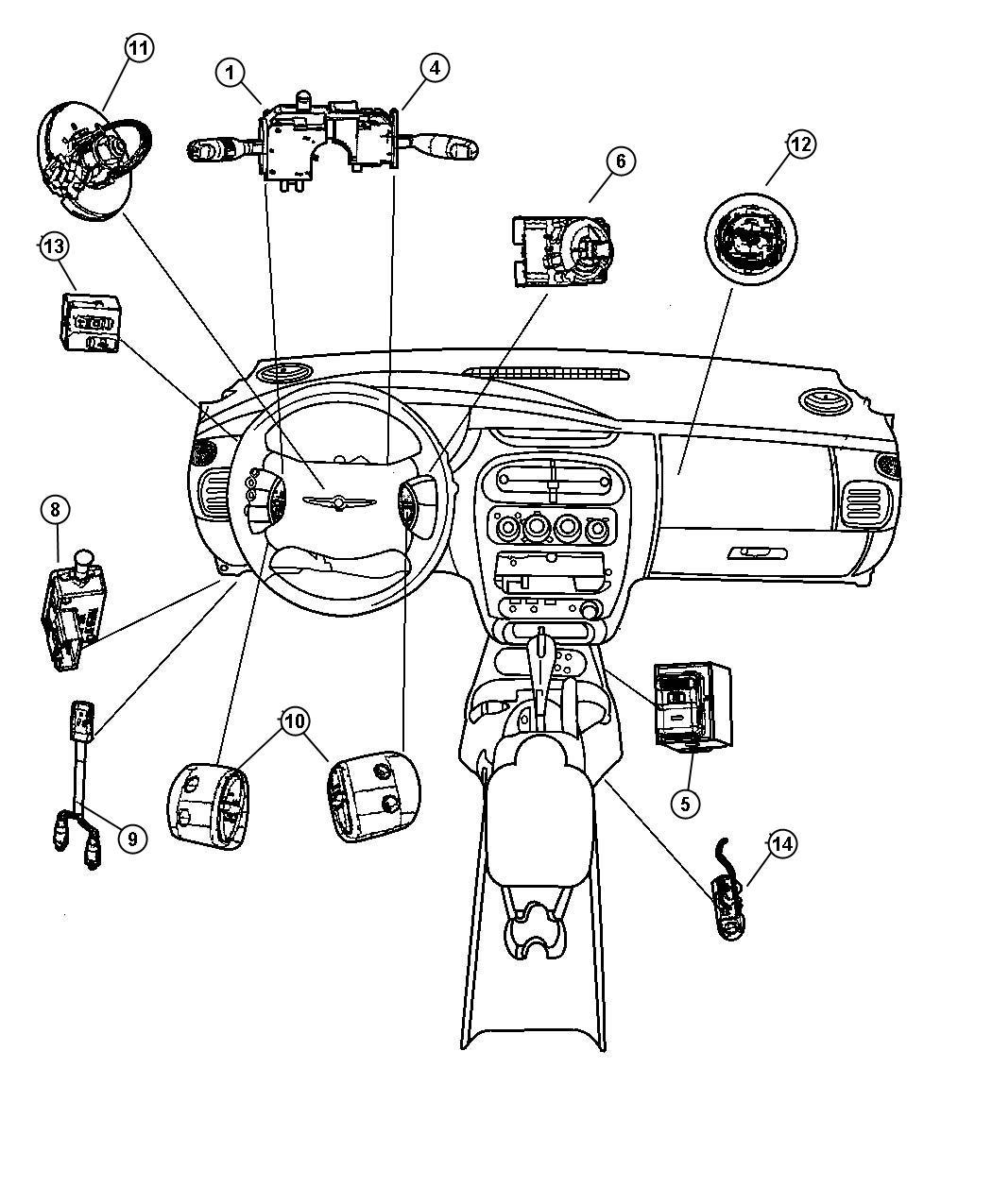 Dodge Neon Switch Ignition Steering Column Tilt