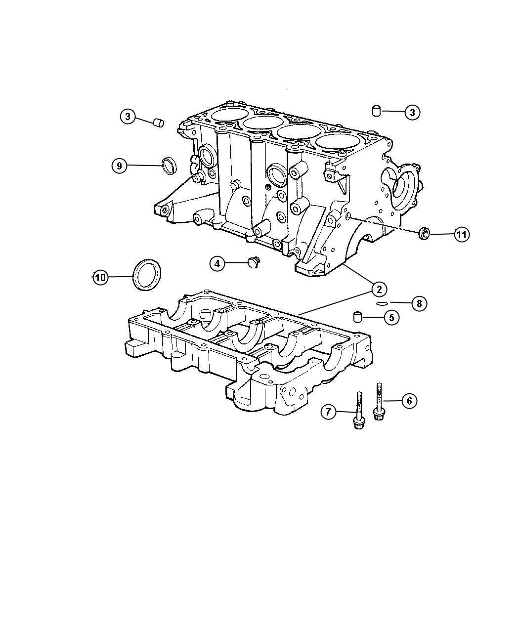 Dodge Neon Engine Short Block Cylinder Sohc