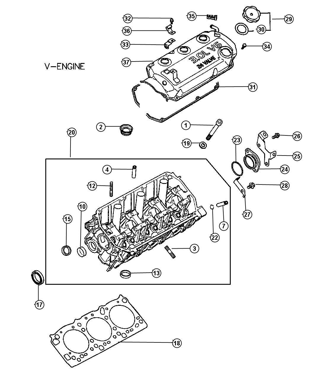 Dodge Stratus Cap Eng Oil Filler Head Cylinder