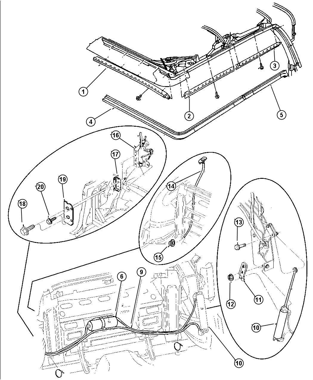 Chrysler Sebring Screw Hex Flange Head Top Folding