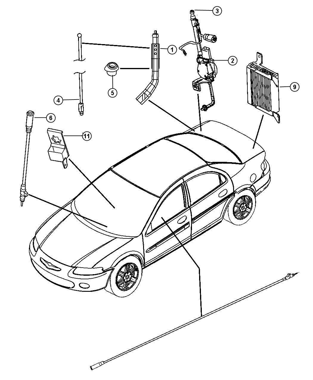 Dodge Nitro Antenna Fixed Long Mast Antenna Body