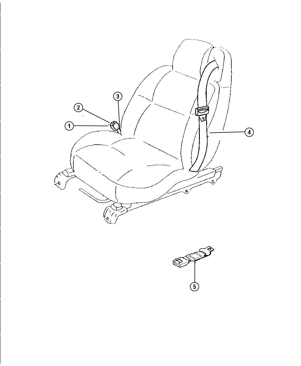 Chrysler Sebring Seat Belt Front Left Dv Trim